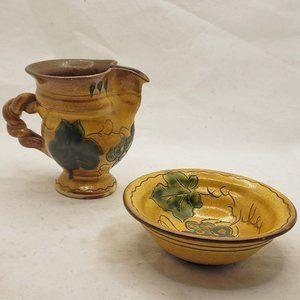 SN Liechtenstein Pottery Pitcher Creamer w/Dish Su